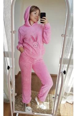 (5212) Женская розовая плюшевая пижама