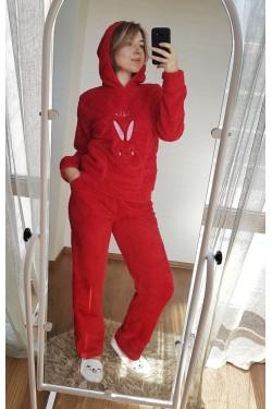 Женская теплая плюшевая красная пижама