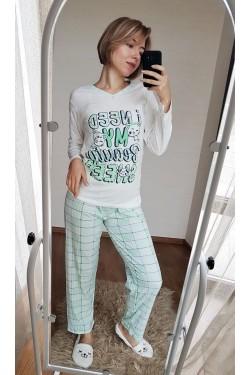 (1212) Пижама хлопковая зеленая