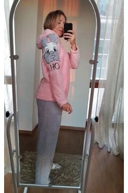 Плюшевая женская пижама с зайцем