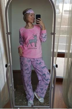 Розовая пижама велсофт (7039)