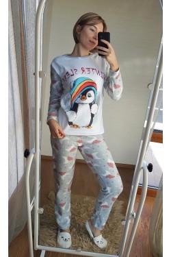 Пижама флисовая с пингвином (7033)
