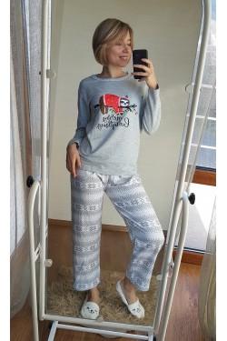 Байковая пижама (серая)- 7031