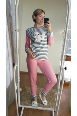 Пижама с розовыми манжетами (7029)