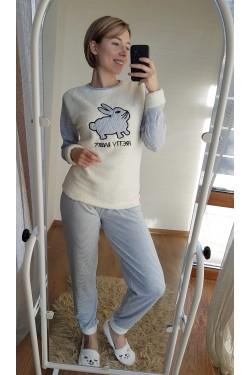 (7028) Пижама с плюшевыми белыми вставками