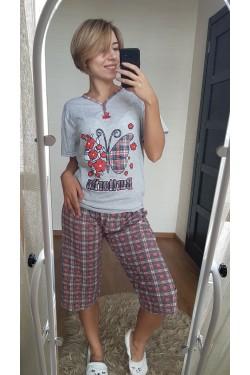 Пижама с капрями в клетку (7077)