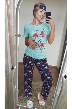 Пижама женская с фламинго (7074)