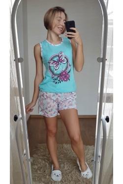 Коттоновая пижама с майкой (7137)