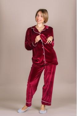 Классическая бархатная пижама (бордо)