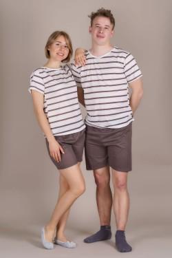 Пижамка для двоих в полоску (606-7)