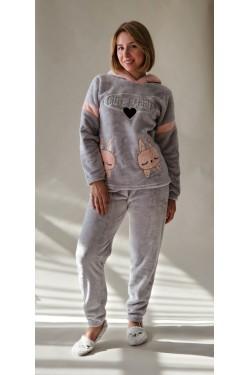 Плюшевая пижама Cute Rabit Серая (11700)