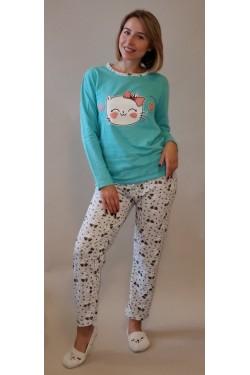 Пижама байковая с длинными рукавами Smile Cat Blue (10581-2)