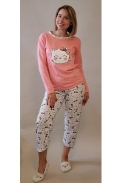 Пижама байковая с длинными рукавами Smile Cat Red (10581-1)