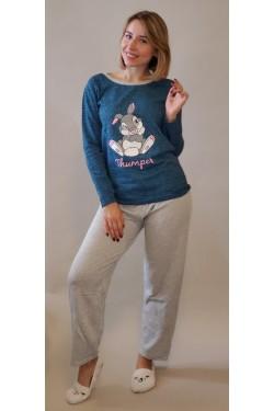 Пижама байковая с длинными рукавами Thumper Blue (9969-2)