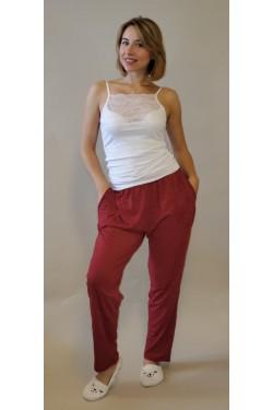 Домашние батальные штаны красные в белый горох  (1422)