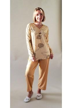 Хлопковая батальная пижама Flowers Yellow (5360)
