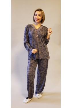 Вискозная батальная пижама Cherry Flowers (1012)
