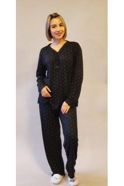 Вискозная батальная пижама Black & White Piers (1016)