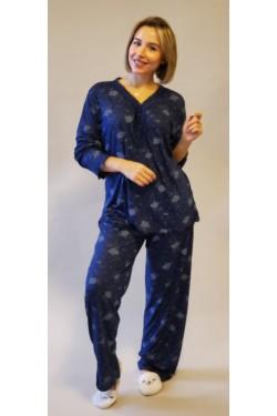 Вискозная батальная пижама Blue Roses (1020)