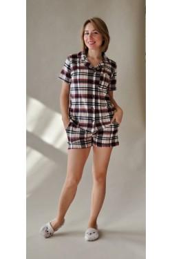 Пижама женская с шортами Клетка (2023)