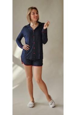 Пижама женская с шортами Горох (2024)