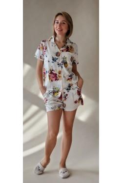 Пижама женская с шортами Цветы  (2025)