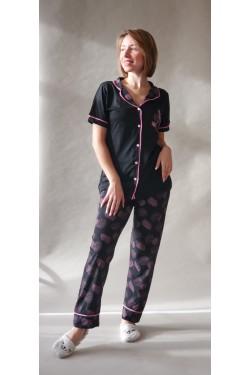 Женская пижама на пуговицах Leaves Palm (2031)