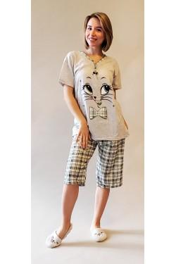 Батальная пижама с капри Meowwww (7748)