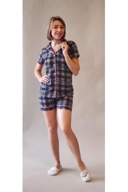(9416) Женская пижама с футболкой на пуговицах