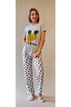 Пижама с футболкой и штанами Pineapple  Gray (7259)
