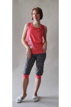 (5212) Женская розовая пижама с Капри