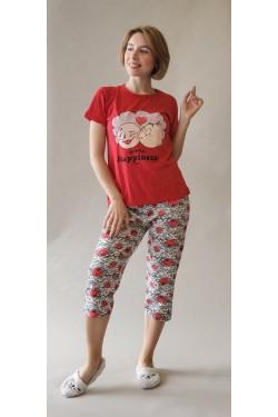 Пижама с футболкой и капри World Happiness Day Red (8254)