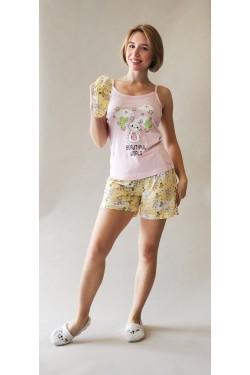 Пижама с майкой и шортами Beautiful World Pink (13520)