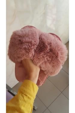 Тапочки пушистые розовые