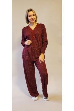 Вискозная батальная пижама Red Flower (1018)