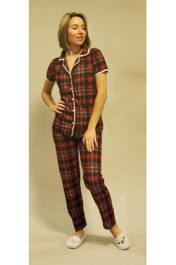 Женская пижама на пуговицах Клетка (2030)