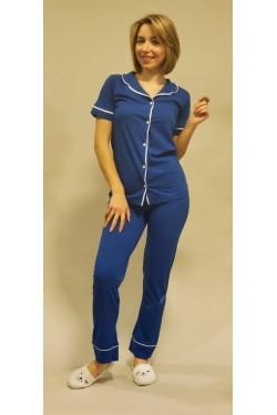 Женская пижама на пуговицах Blue (2019)