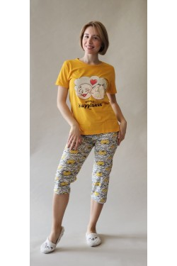 Пижама с футболкой и капри World Happiness Day Yellow (8253)