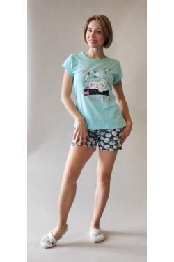 Пижама с футболкой и шортами Zzzzz Blue (8289)