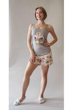 Пижама с майкой и шортами Love Pizza (13505)